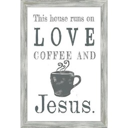 Love Coffee and Jesus Framed Art 13x19
