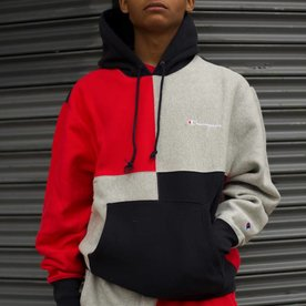 CHAMPION RW CLRBLK HOODIE - NAVY/RED