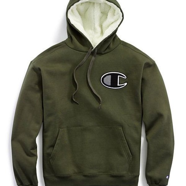CHAMPION SUPERFLC SHERPA HOOD - OLIVE