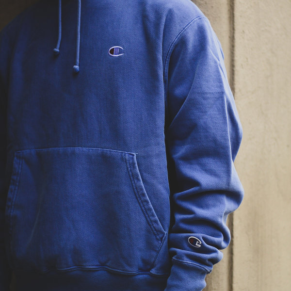 "CHAMPION FLEECE P/O HOOD ""STEEL BLUE"""