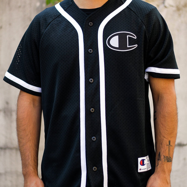 "CHAMPION MESH BASEBALL JERSEY ""BLACK"""