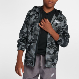 NIKE NSW FULL ZIP CAMO BLK/GRY BOYS