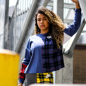 "NIKE W NSW L/S PLAID TOP ""NAVY"""