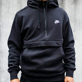 "NIKE CLUB FLC 1/2 ZIP ""BLACK"""