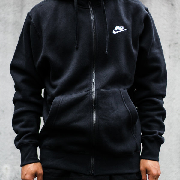 "NIKE CLUB FLC FULL ZIP ""BLACK"""