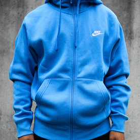 "NIKE CLUB FLC FULL ZIP ""PHOTO BLUE"""