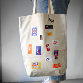 "NIKE NIKE HERITAGE TOTE BAG ""NATURAL/SAFETY ORANGE"""