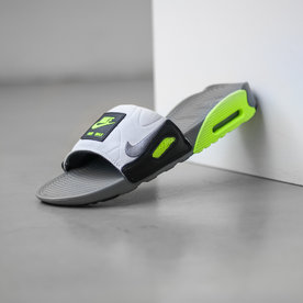 "NIKE NIKE AIR MAX 90 SLIDE ""SMOKE GREY/VOLT"""