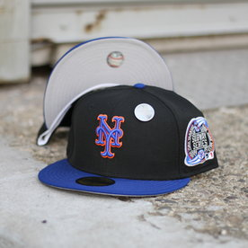 NEW ERA 2000 NEW YORK METS BLACK/BLUE FITTED W/ GREY UNDER VISOR