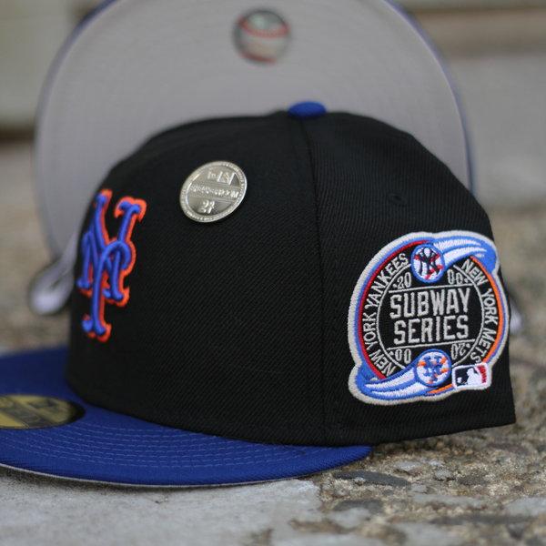 NEW ERA 2000 NEW YORK METS BLACK/BLUE FITTED W/ GREY UNDER VISOR
