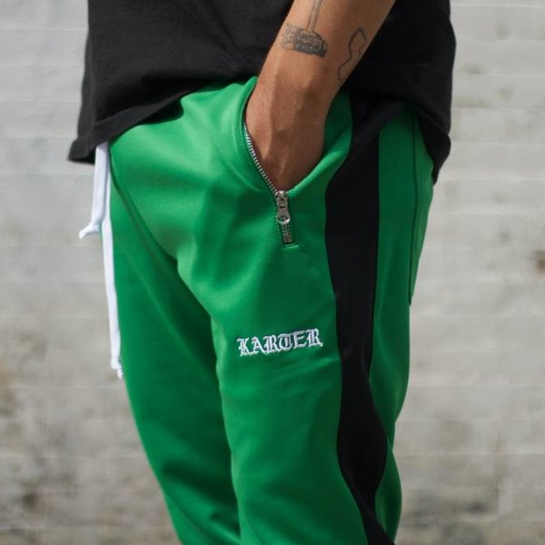 KARTER KARTER TRACK PANT - GREEN/BLACK