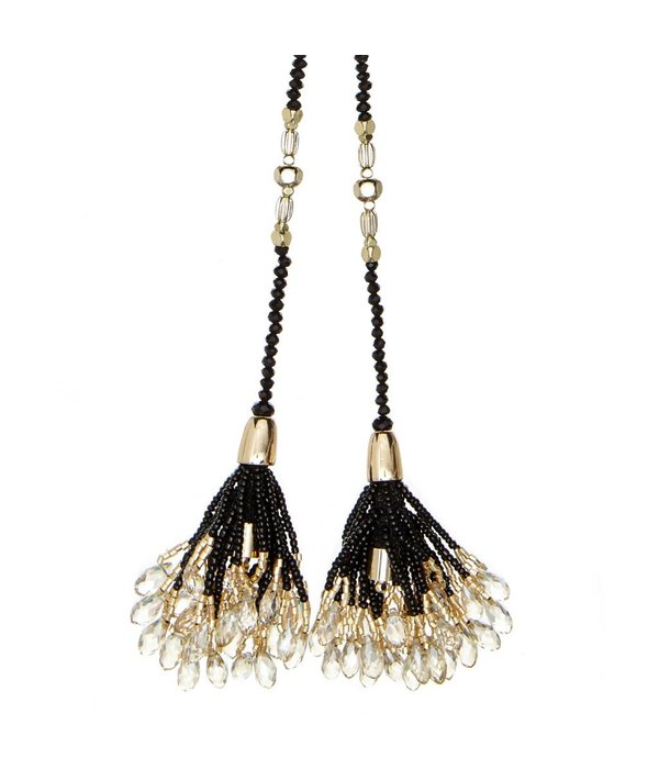 Butterfly Mademoiselle Black and Champagne Tie-Up Tassel Necklace
