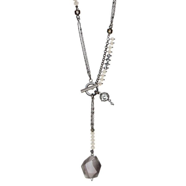 Butterfly Twilight Grey and Metal Toggle Necklace
