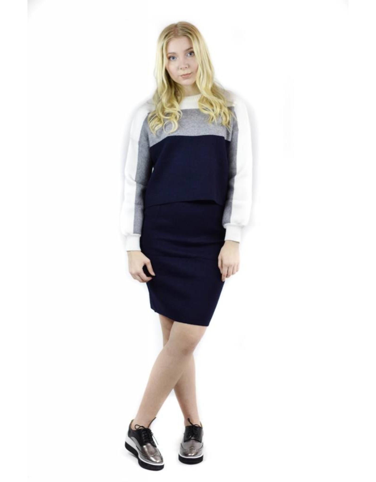 Unity Sweater Skirt Combo Grey/White