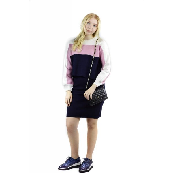 Unity Sweater Skirt Combo Pink/Navy