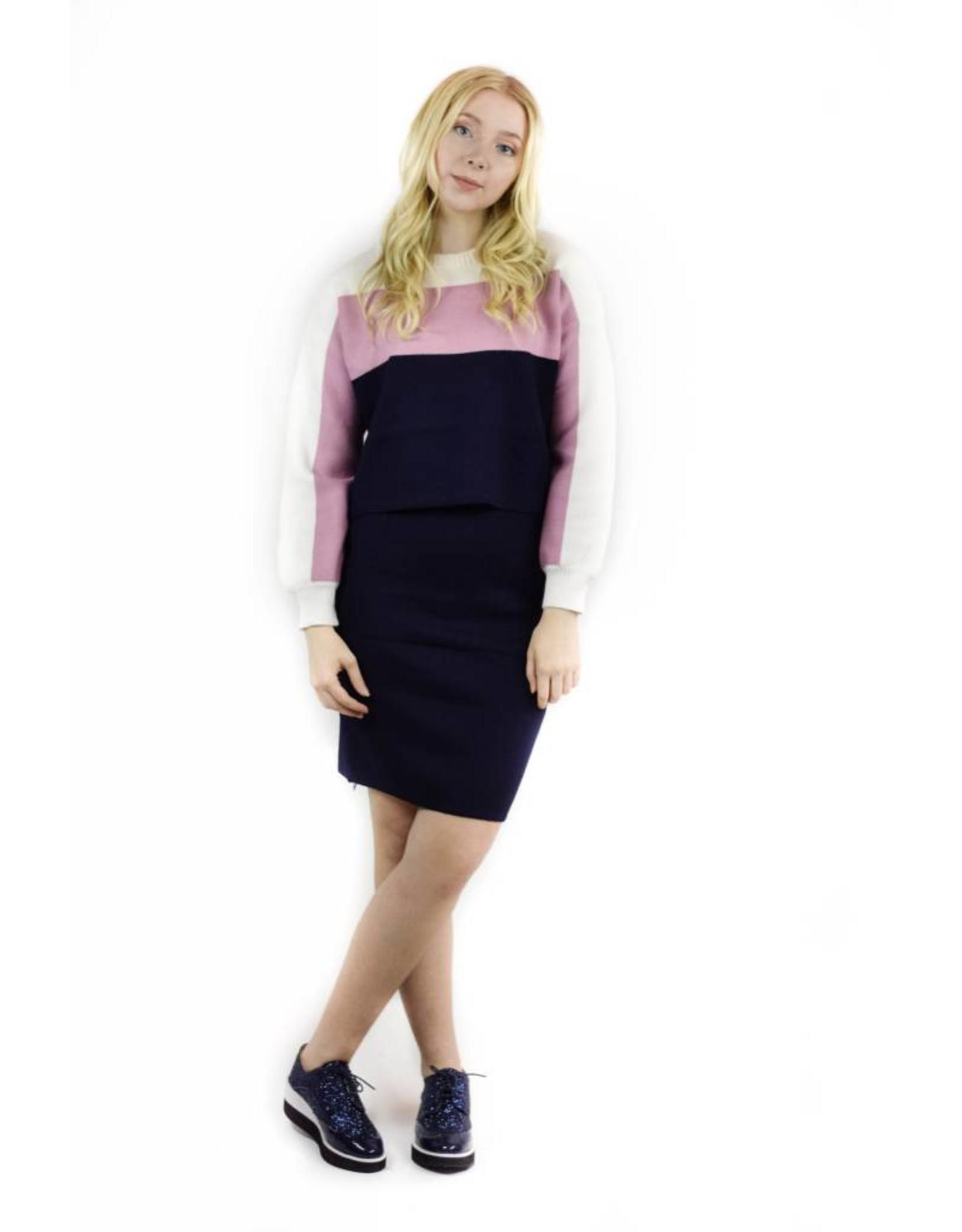 Unity Sweater Skirt Combo Pink/Navy