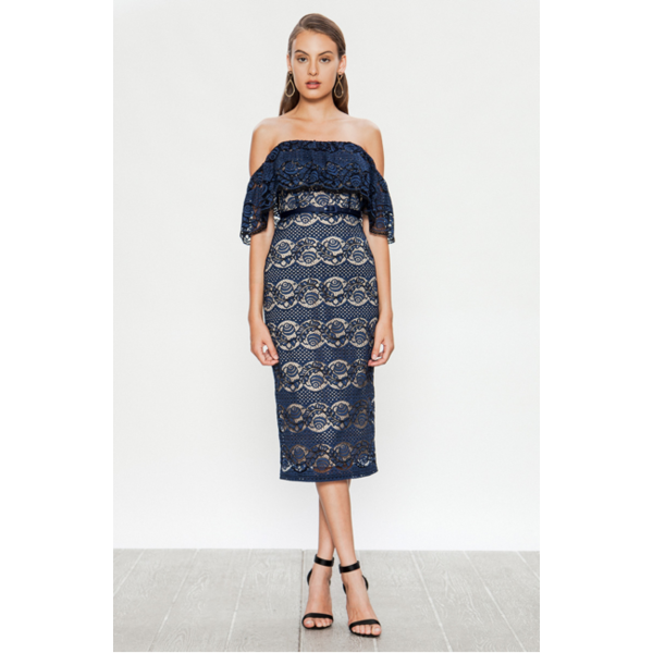 Paulette Lace Navy Dress