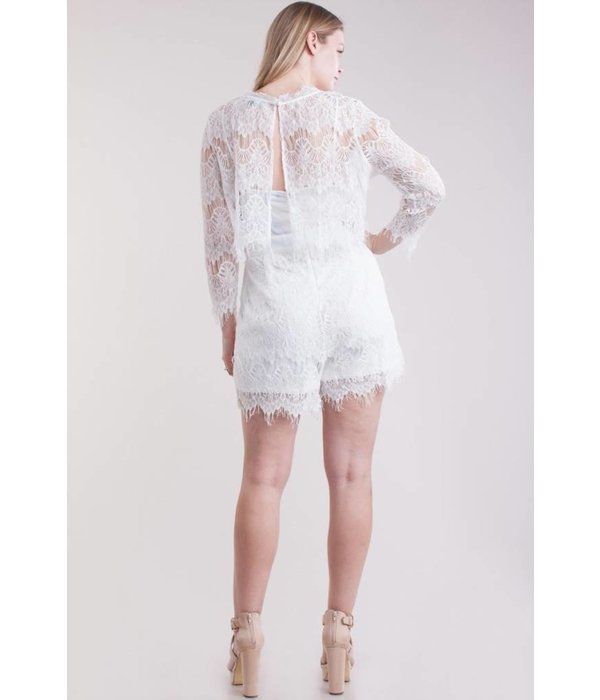 April Lace Romper - Ivory