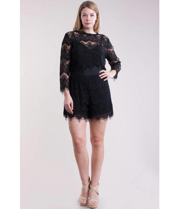 April Lace Romper - Black