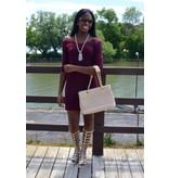 Hailey Dress Burgundy Round-Neck