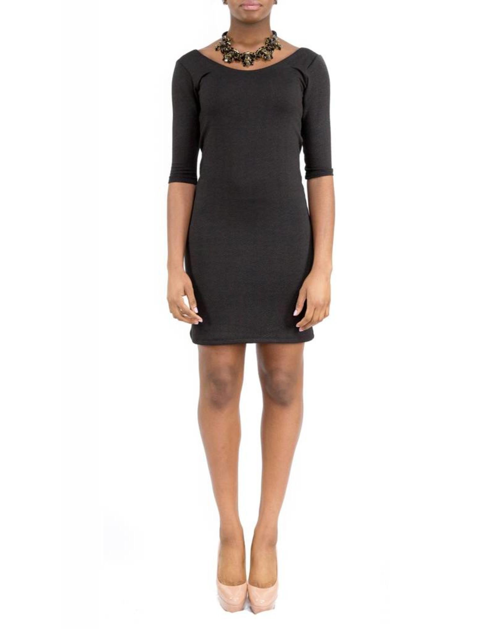 Hailey Dress Black Round-Neck