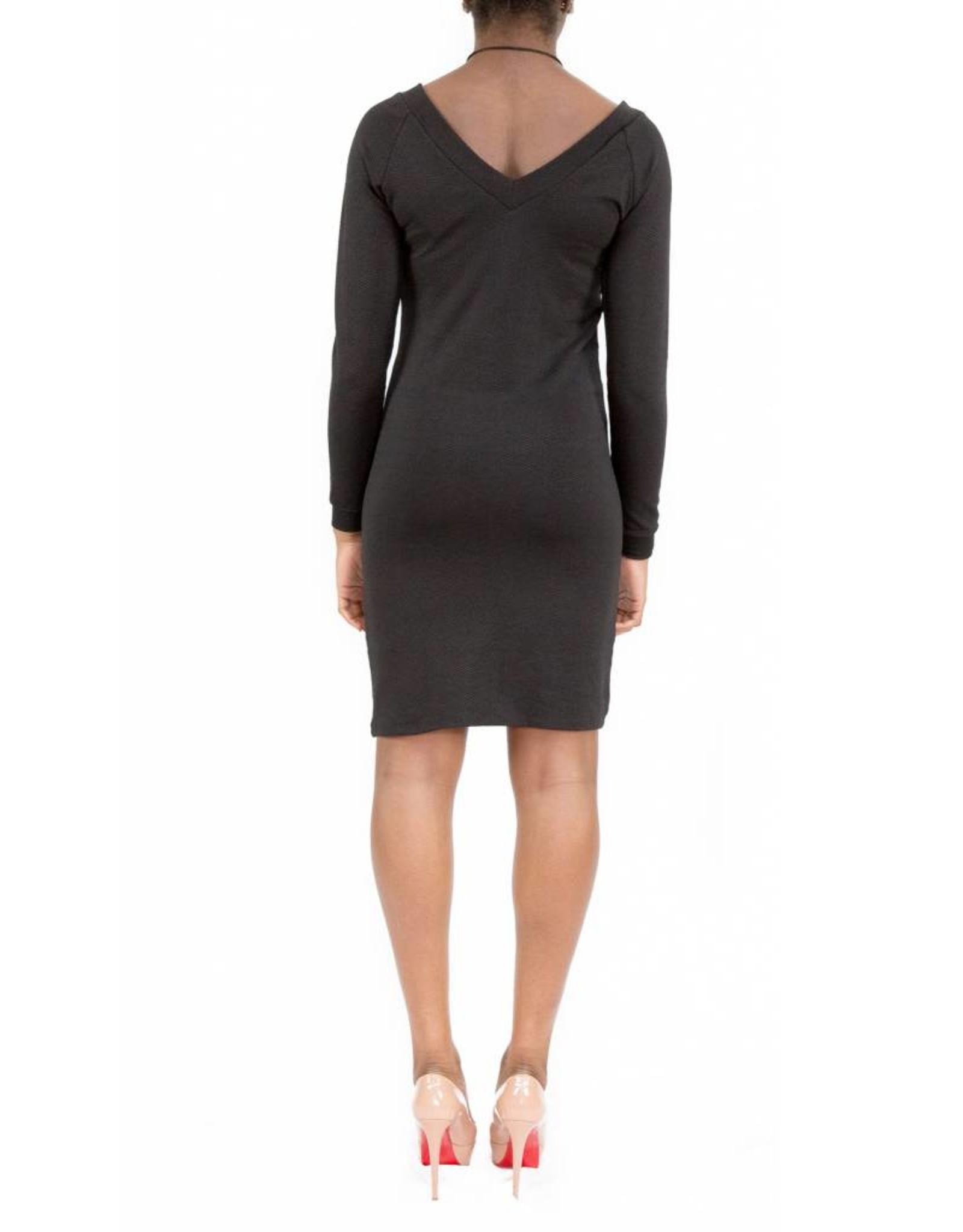 Hailey Dress Black V-Neck