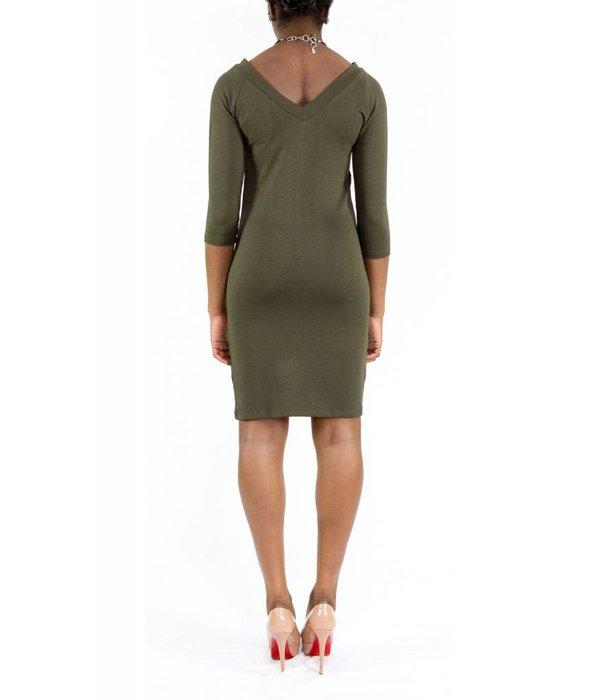 Hailey Dress Olive V-Neck