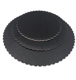 Black Scalloped Cake Circles 12""