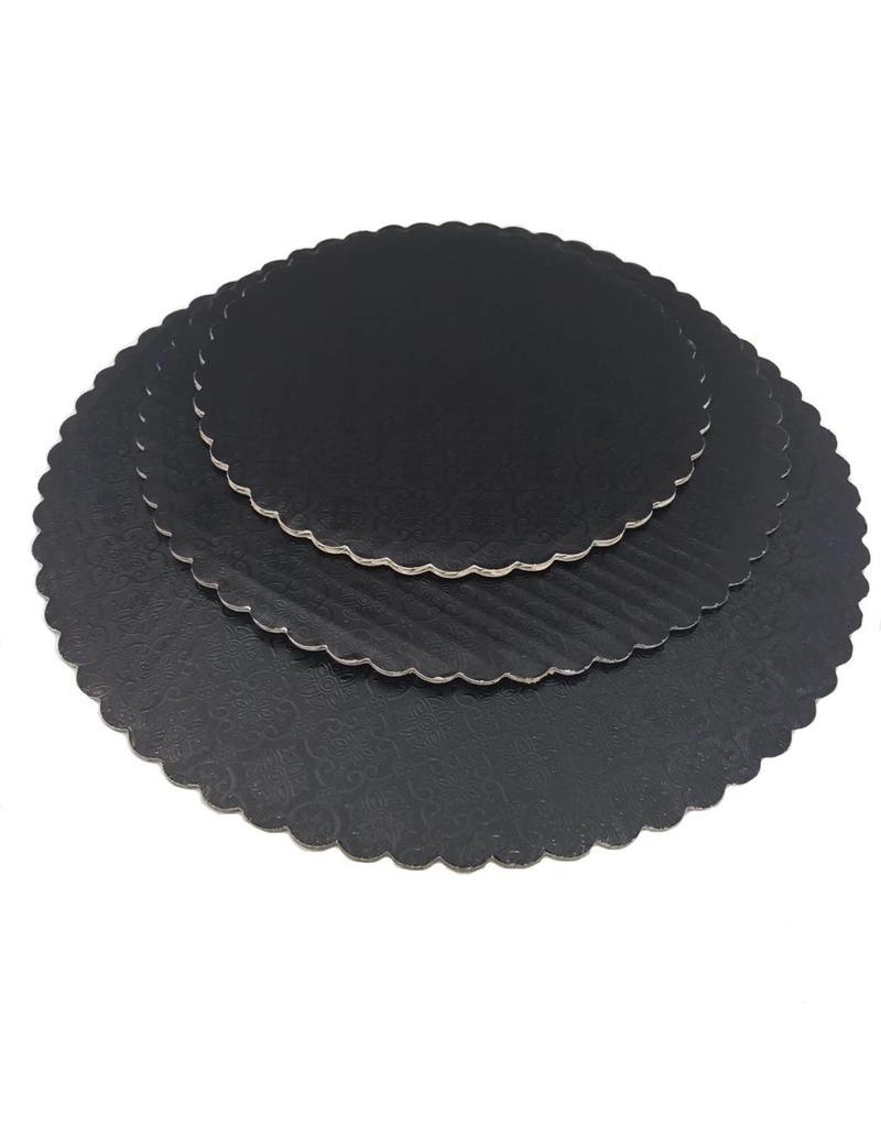 "12"" Black Scalloped Cake Circles"