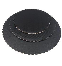 "Black Scalloped Cake Circles 10"""