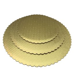 Gold Scalloped Cake Circles 8""