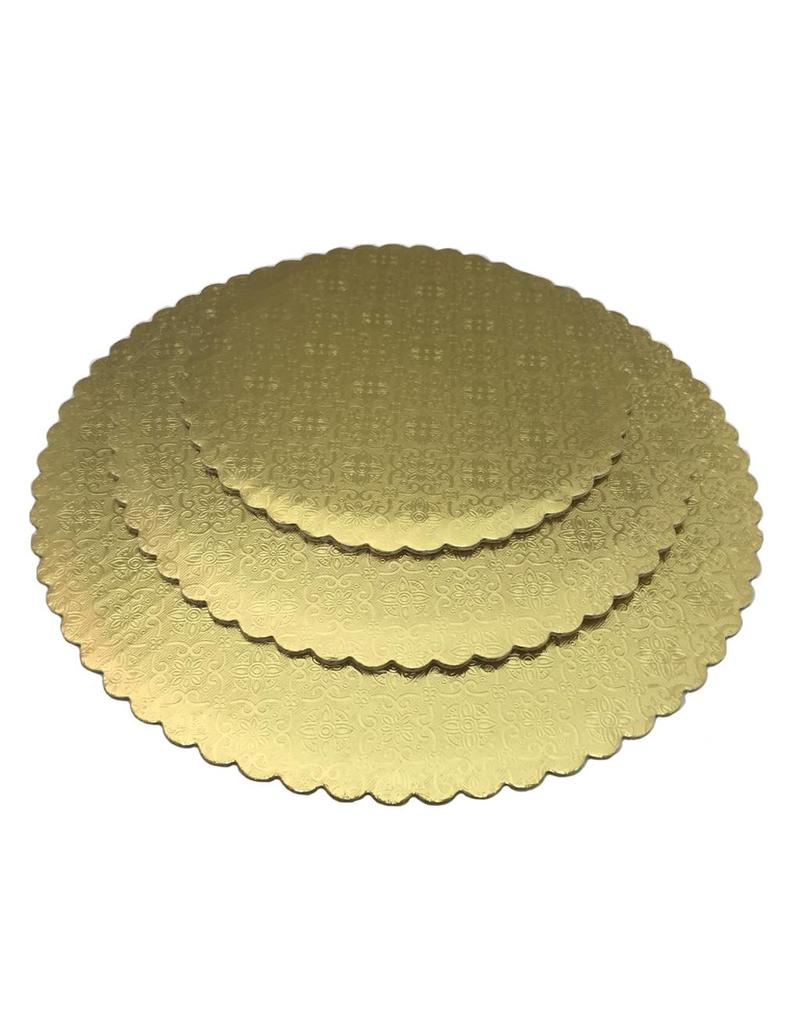 "12"" Gold Scalloped Cake Circles  WPGC12"