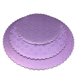 "Lilac Scalloped Cake Circles 10"""
