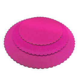 Hot Pink Scalloped Cake Circles 12""