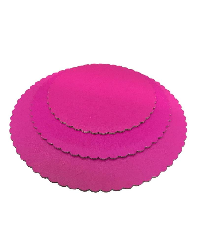 Pink Scalloped Cake Circles 10""