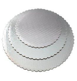 "Silver Scalloped Cake Circles 10"""