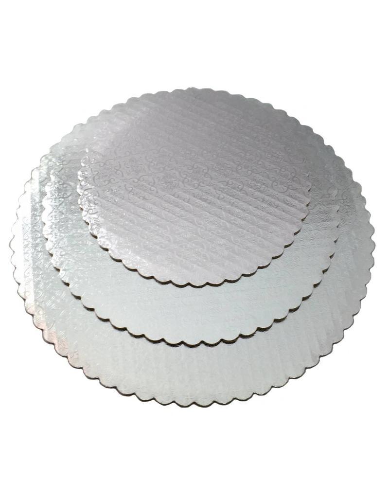 "12"" Silver Scalloped Cake Circles"