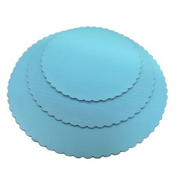 Sky Blue Scalloped Cake Circles 12""