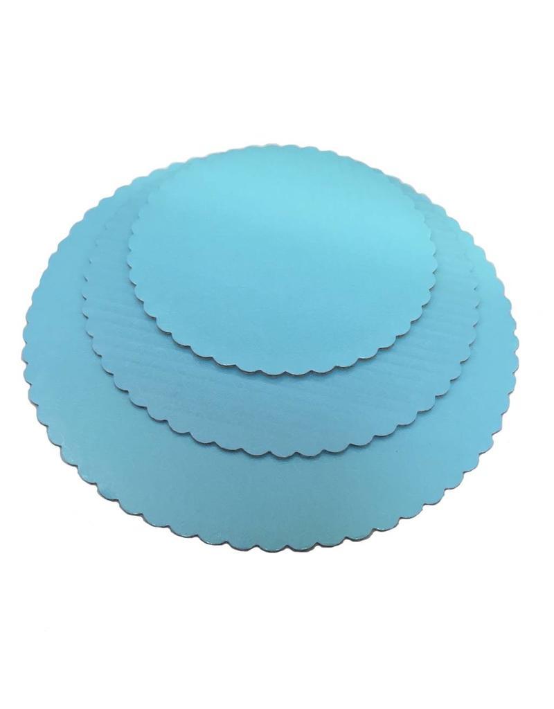 "Sky Blue Scalloped Cake Circles 12"""
