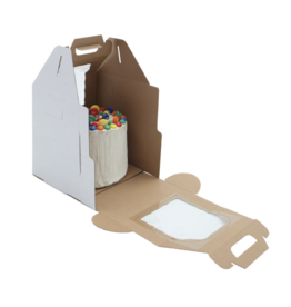 White Plain Tall Cake Box Handle 12x12x14 (PT121214W)