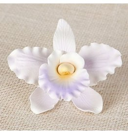 SUGAR FLOWER LARGE ORCHID WHITE-LAVENDER