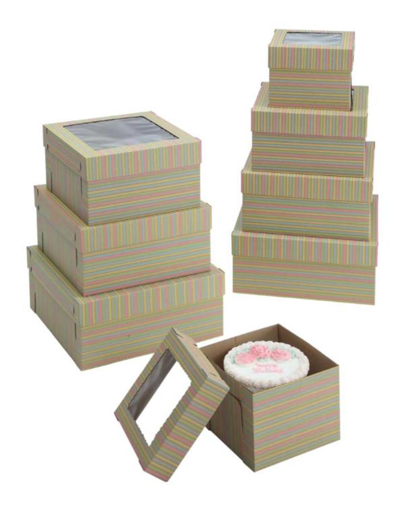 "Striped Print Cake Box w/Window 10"" x 10"" x 8"" WPCKB108KS (Pack of 5)"