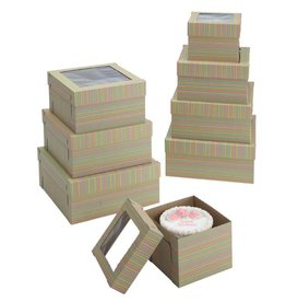 "Striped Print Cake Box w/Window 12"" x 12"" x 8"" WPCKB128KS (Pack of 5)"