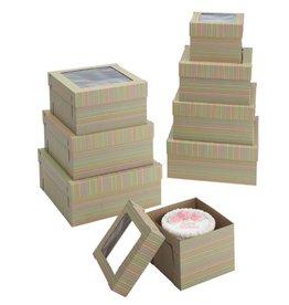 "Striped Print Cake Box w/Window 12"" x 12"" x 8"" WPCKB128KS (Pack of 5)"