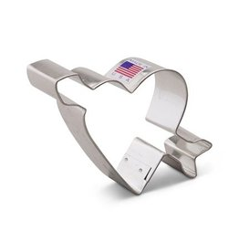 "4"" HEART W/ ARROW METAL COOKIE CUTTER"