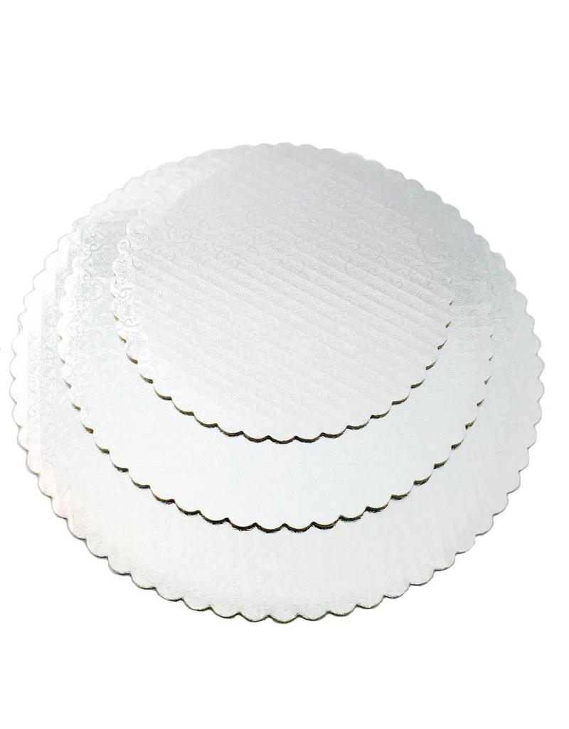 "White Scalloped Cake Circle 8"" (SCA8W)"