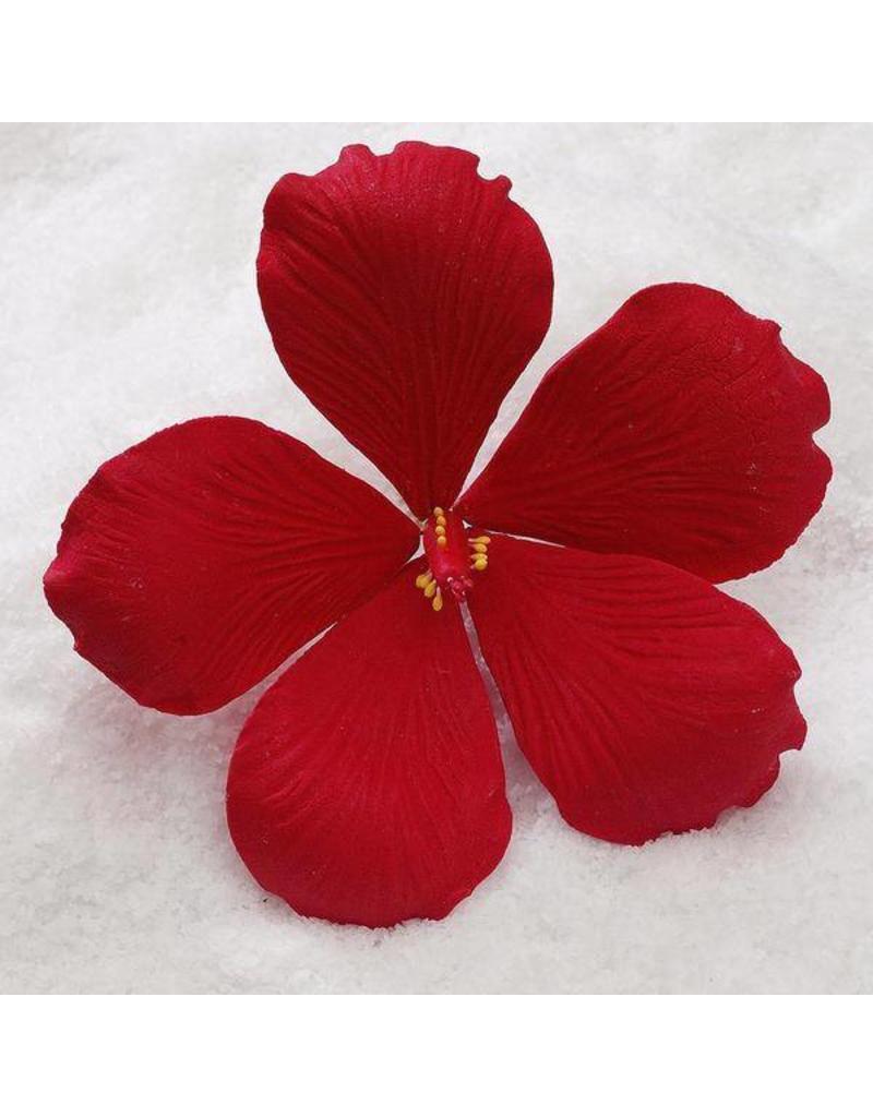 """SUGAR FLOWER MEDIUM HIBISCUS RED 3.5"""""""