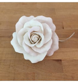 LARGE CLASSIC GARDEN ROSE WHITE SUGAR FLOWER