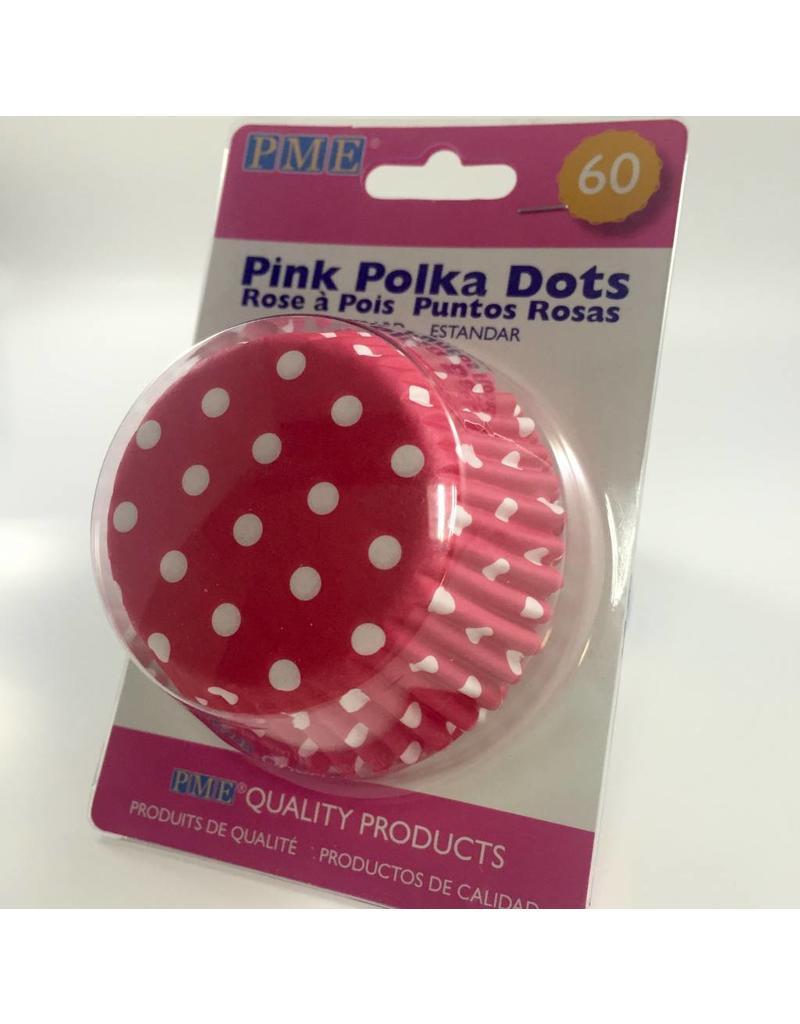 PME PINK POLKA DOTS STD BAKING CUPS 60PK  BC731