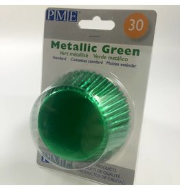 PME METALLIC GREEN BAKING CUPS STD 30PK  BC757